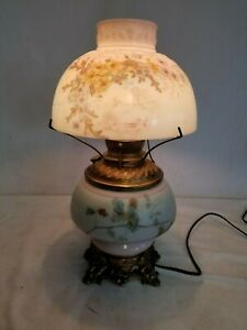 Antique Gwtw Electrified Oil Lamp Hand Painted Floral Base Shade Shade