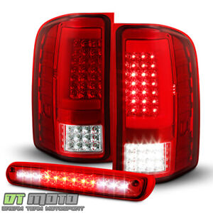 2007 2013 Chevy Silverado 1500 Red Led Tube Tail Lights Lamps led 3rd Brake Lamp