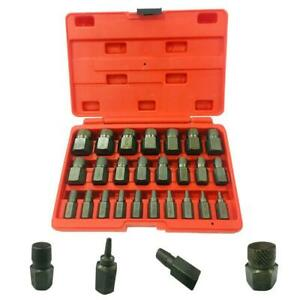 25 X Screw Extractor Set Hex Head Bit Socket Wrench Bolt Removal Us Stock