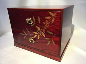 Japanese Wooden Lacquered Sewing Box Vtg Haribako Chest Tansu 2 Drawers