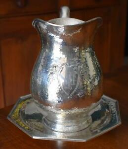 Antique English Arts Crafts Sheffield Silver Plate Hammered Pitcher Underplate