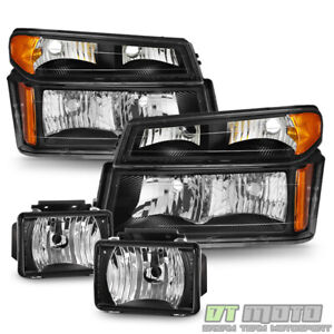 Black 2004 2012 Chevy Colorado Gmc Canyon Headlights Headlamps Fog Lights Lamps