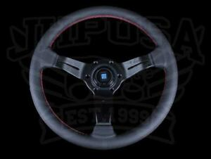 Nardi Rally Deep Corn 330mm Steering Wheel Black W Red Stitching 6069 33 2093