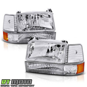 1992 1996 Ford F150 F250 F350 Bronco Headlights W corner Signal Bumper Lamps 6pc