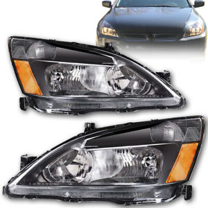 For 2003 2007 Honda Accord Headlights Signal Lamps Black Replacement