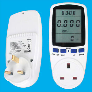 2x Electric Power Consumption Meter Measures Energy Use Cost Of Appliances