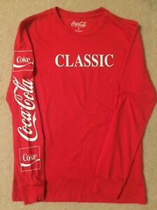 COKE Coca-Coca CLASSIC can Bottle logo Soda POP MEN'S New LONG SLEEVE T-SHIRT