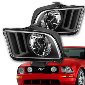 For 2005 2009 Ford Mustang S197 Pair Black Housing Clear Corner Headlight lamp