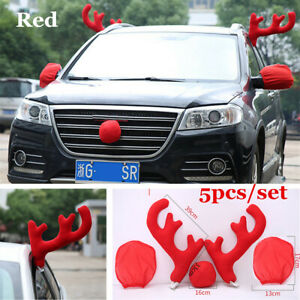 5x Antlers Red Nose Rudolph Reindeer Car Truck Costume Christmas Decoration Kit