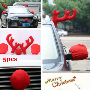 5pcs Car Suv Mirror Cover Reindeer Antlers Red Nose Christmas Festive Decoration