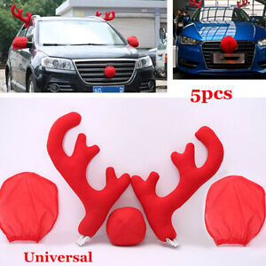 5x Personalised Christmas Ornament Red Nose Rudolph Reindeer Antlers Car Decor