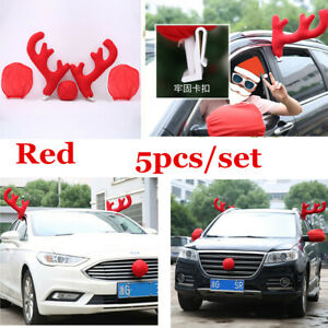 5x Rudolph Red Nose Reindeer Car Decoration Kit Antlers Universal Car Costume