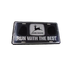 John Deere Black Run With The Best License Plate Farm Tag Tractor New