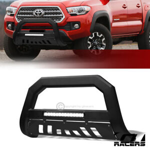 For 2016 2021 Toyota Tacoma Matte Black Avt Aluminum Led Bull Bar Bumper Guard
