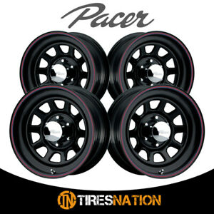 4 Pacer 605342b Black Daytona 16x7 5x135 87 00 Hub 00 Offset Black Wheel Rim