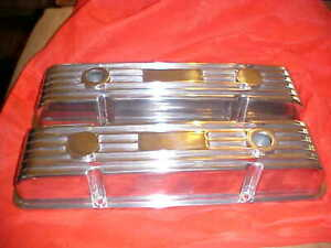 Sbc Vintage Old School Polished Finned Valve Covers Unknown Make Made In Usa Rat