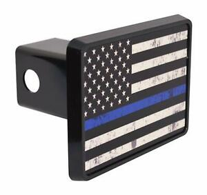 Thin Blue Line Flag Trailer Hitch Cover Plug Us Police Officer Law Enforcement