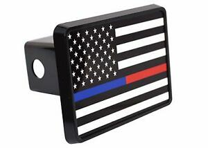 Thin Blue Red Line Flag Trailer Hitch Cover Plug Us Police Officer Firefighter