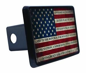 Usa American Flag Trailer Hitch Cover Plug Us Patriotic Pledge Of Allegiance New