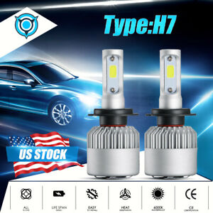 H7 Led Headlight Bulbs Conversion Kit Hi lo 2000w 300000lm 6000k Super Bright