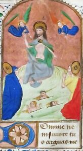 Medieval Ca 1475 Manuscript Leaf From A Book Of Hours Resurrection Of The Dead