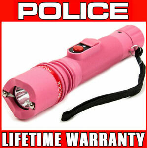 Police Stun Gun Pink 306 550 Bv Rechargeable Tactical Led Flashlight