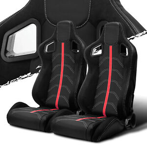 Black Pvc Leather red Strip red Stitch Left right Recaro Style Racing Seats