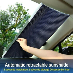 45cm Retractable Car Windshield Sun Shade Visor Block Cover Front Rear Window Us