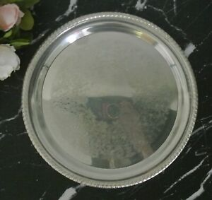 Vintage Round Silver Plate 171 Etched Wm Rogers Serving Tray