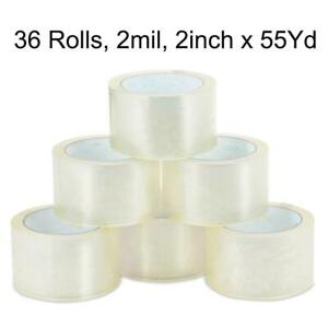 36 Roll 2 55 Yard 165 Clear Carton Sealing Packing Shipping Tape 2 0 Mils