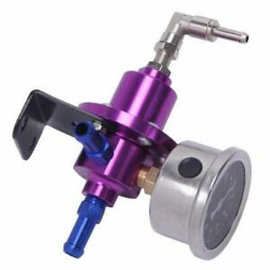 High Precision Aluminum Adjustable Fuel Pressure Regulator Oil Gauge Kit Purple