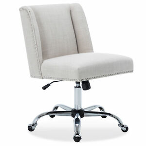 White Upholstered Office Chair Nailhead Trim Swivel Task Chair Height Adjustable