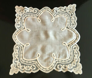 Antique Wedding Hanky With Delicate Hand Made Lace 11 X 11