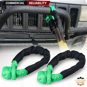 1 2 Synthetic Soft Shackle Rope Recovery Tow Strap 38 000lbs Green 2pcs