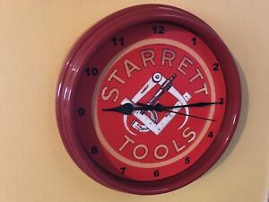 Starrett Machinist Tools Micrometer Calipers Shop Man Cave Red Wall Clock Sign