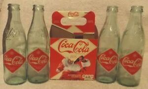 COCA COLA 2012 CHRISTMAS HOLIDAY SANTA RETRO 1900'S GLASS BOTTLE 4 PACK--NICE