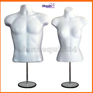 White Mannequin Male Female Dress Forms With 2 Metal Stands 2 Hangers