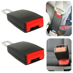 2pcs Mini Car Seat Belt Extender Add 3 E4 Safety Extension Buckle Black Clip In