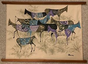 Vintage Canvas Horse Screen Print Tapestry Wall Hanging Mid Century Modern Honda