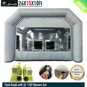 Inflatable Spray Paint Booth 950w 750w Blowers Portable Car Tent 26x15x10ft