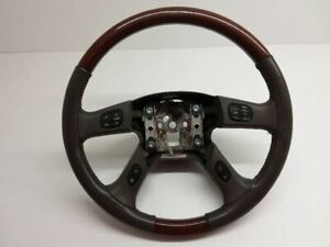 Chevrolet Tahoe Suburban Yukon Escalade Steering Wheel 03 06 Gray Leather Wood