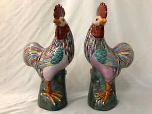 Chinese Export Famille Rose Cockerel Rooster Large Porcelain Pair 35 5cm 14