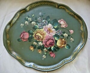 Toleware Metal Tray Hand Painted Flowers On Green 17 X 14 Vintage