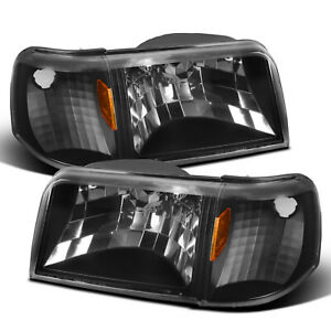 For 1993 1997 Ford Ranger 2in1 Style Black Headlights W Corner Signal