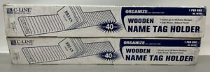 Lot Of 2 C line Wooden Name Tag Holders 40 card Capacity 3 5x0 75x23 63 98700