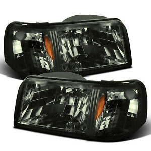 For 1993 1997 Ford Ranger 2in1 Style Smoke Headlights W Corner Signal Lamp Pair