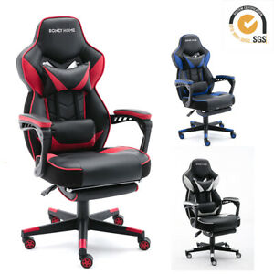 Gaming Chair Racing Style Leather Office Recliner Computer Seat Swivel Footrest