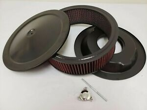 14 X 4 Black Steel Air Cleaner Kit W Washable Filter Recessed Base Deluxe Nut