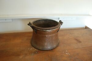Antique Hammered Dovetailed Copper With Wrought Iron Handle Cauldron Kettle Pot