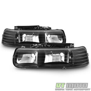 Black 1999 2002 Chevy Silverado 00 06 Suburban Headlights Headlamps Left right